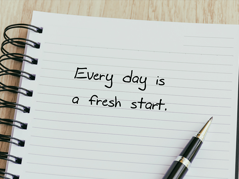 Notebook that says Every Day is a Fresh Start