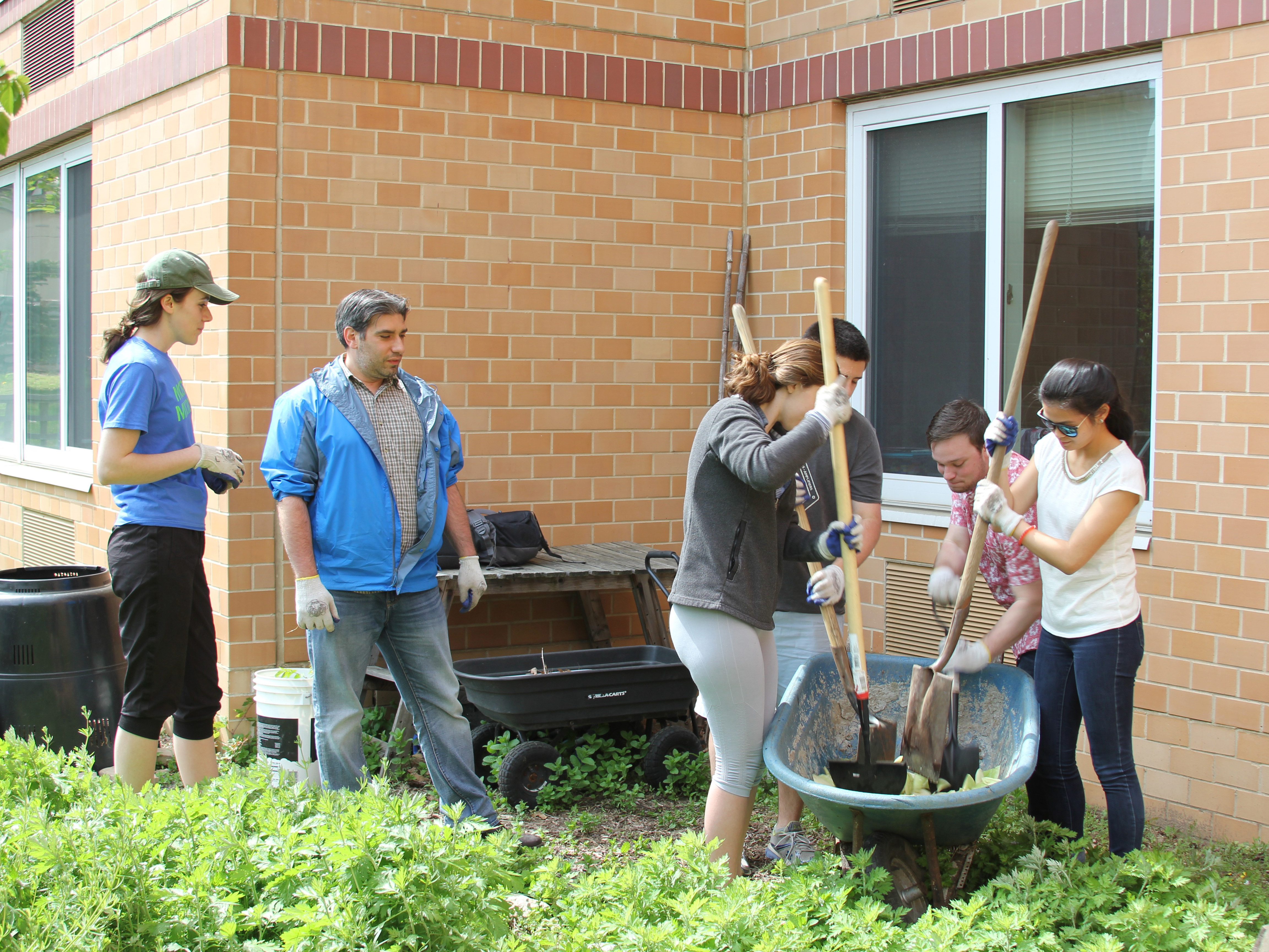 compost crew works in the lee hall garden