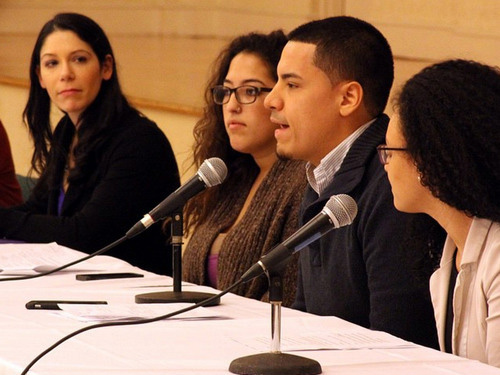 student panelists at racial justice teach-in